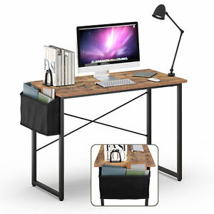 """Modern Computer Desk 40"""" Study Writing Table Home Office with Storage Bag Rustic"""