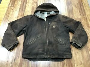 MENS LARGE - Vtg Carhartt J141 Sandstone Sherpa Quilt Lined Hooded Jacket