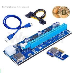 PCI-E 1x to 16x Power USB3.0 GPU Extender Riser Adapter Card Cable Bitcoin 6PIN