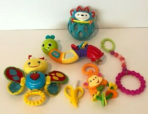 Baby Infant Rattle Mirror Teether Ball Stroller Crib Toys Lot of 6 Toys