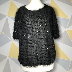 NEW LOOK Ladies Size 18 Sequin Covered Top Blouse Short Sleeved Black VGC