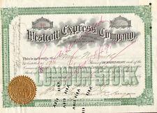 Westcott Express Company 1906 New York Wells Fargo autograph stock certificate
