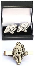 Motor Super Bike Cufflinks & Tie Clip Bar Tack Slide Set Mens GP TT Rider Gift