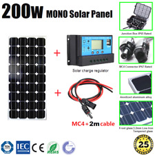 200W 12V MONO SOLAR PANEL KIT INCL. SOLAR CHARGE REGULATOR AND PAIR MC4 2m CABLE