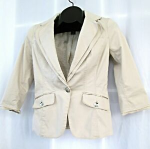 White House Black Market blazer jacket 00 cream one button pockets lined WHBM