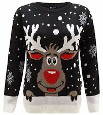 Womens Christmas Ladies Novelty Bambi  Reindeer Santa Snow Xmas Jumper