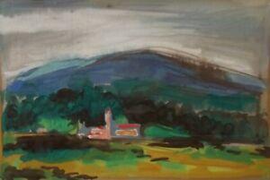 AKOS BIRO 1911-2002 Impressionist Landscape Gouache DISTANT VILLAGE, HUNGARY