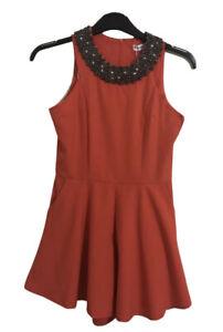 TOBY HEART GINGER Orange Embellished Playsuit. Size 8. NWT