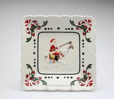 Cosmos Gifts Santa on Polar Bear Candy Cane White and Red Design Glass Plate