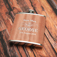 Personalised 6oz Wood/Steel Hip Flask Birthday Xmas Gift Ideal !!