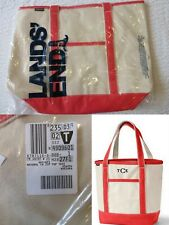 NWT Lands End Large Zip Top Canvas Tote Beach Bag Natural / Bold Coral