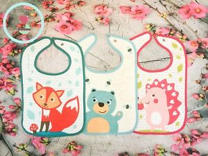 Cotton bibs for Baby with snap CUTE ANIMALS 6M+ Canpol babies