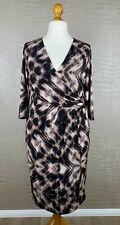 NAVABI Damen 48 Wickel Kleid Stretch Dress schwarz beige braun Tunika Robe 407