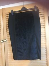 DEFINITIONS BLACK PENCIL SKIRT SIZE  10:Faux Fur Panel: back split