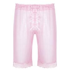 Lingerie Mens Sheer Mesh Loose Lounge Shorts Sissy Trunk Pants Briefs Underwear