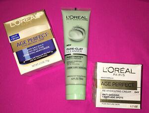 L'Oreal Paris Age Perfect Day & Night Cream Plus Bonus Clay Cleanser ~ All 3 New