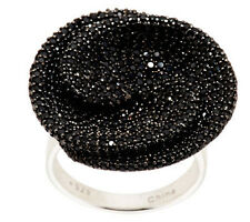 QVC 3.25 cttw Black Spinel Pave' Round Wrapped Sterling Silver Ring Size 9 $199