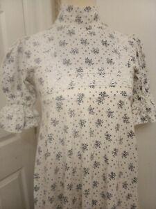 Laura Ashley white blue maxi dress - Ditsy Vintage Victoriana 8 10 12