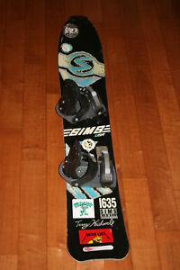 Vintage 1989 SIMS Terry Kidwell 1635 Freestyle Model Snowboard 163.5cm Bindings