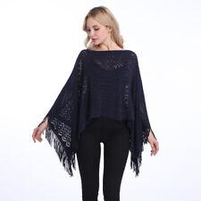 Women Poncho Stole Cape Shrug Wrap Shawl Jacket Jumper Sweater Tassels Plus Size