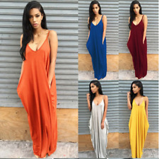 Womens Boho Sleeveless V Neck Summer Beach Party Ladies Kaftan Maxi Long Dress