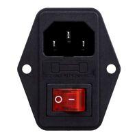 3 Pin IEC320 C14 Inlet Module Plug Fuse Switch Male Power Socket 10A 250V I1Q8