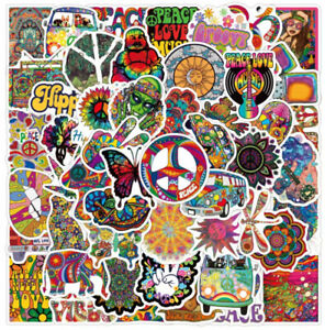 MUSIC STICKERS 50 HIPPY PSYCHEDELIC LOVE PEACE EQUALITY HIPPIE TRANCE