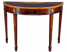 Inlaid Mahogany Sunburst Half Circle Demilune Sofa Table - Accent Table