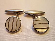 Vintage mens jewellery gold plated chain link cufflinks with Mother of Pearl