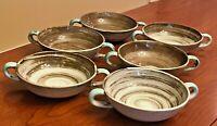"6 Santa Anita Ware Vreni '51 Stylized Spirals Brown Turquoise Dessert Bowls 4.5"""