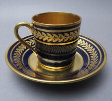 B&C Limoges Bernardaud France Cobalt und Gold Fine Porcelain Demitasse Lorbeer