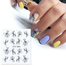 Nail Art Water Decals Stickers Transfers Black Scribble Flowers Floral  (886)