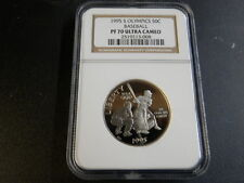 1995 S Olympic 50 Cent  Baseball Commemorative Proof 70 Ultra Cameo