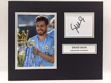 RARE David Silva Manchester City Signed Photo Display + COA MAN CITY CHAMPIONS