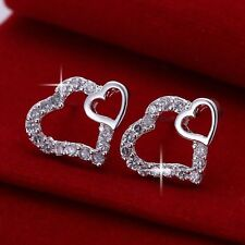 E2 Silver Plated Zirconia Crystals Heart Stud Earrings