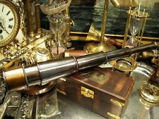 Large Antique Finnish Brass Ship Captain Telescope Lunette with Wood Box Gift 16