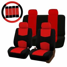 Universal Car Seat Covers Protector Full Set Steel Ring Wheel Cover Belt Pad Red