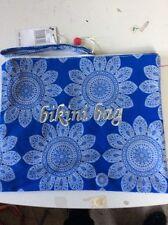 $20 Ladies Echo blue floral  Bikini Beach Travel Zipper Bag plasic lined v29