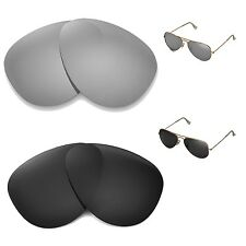 WL Polarized Titanium + Black Lenses For Ray-Ban Aviator Large Metal RB3025 58mm
