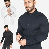 883 Police Mens Slim Fit Soft Stretch Cotton Designer Collared Long Sleeve Shirt