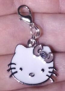Silver Hello Kitty Pink Bowknot Charm Zipper Pull & Keychain Add On Clip