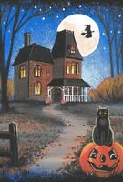 LE 4x6 HALLOWEEN POSTCARD 2/200 RYTA RARE BLACK CAT WITCH HAUNTED HOUSE moon art