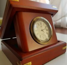 Ship Desk Clock Folding Wooden Box Fine Antique Reproduction Athentic Models Inc