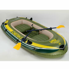 Fishing Boat 3 Person Inflatable Rafting Rod Holders Set with 2 Oars
