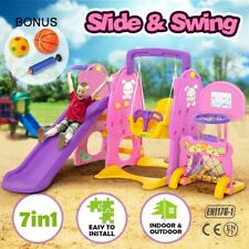 7in1 Kids Toddlers Play Toy Swing Slide Activity Center Basketball Ring Hoop Set