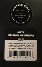 """METZ Mission To Burma Sub Pop 7"""" Color Vinyl RSD 2016 Record Store Day 45"""