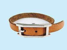 Authentic HERMES Hapi Silvertone Light Brown Leather Bracelet #6294