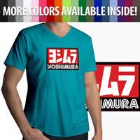 Yoshimura Hideo Pops Motorcycle USA Japan Racing Mens Unisex Tee V-Neck T-Shirt
