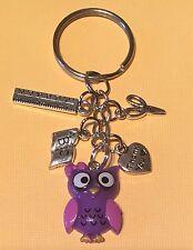 Handmade Thank You TEACHER BAG CHARM KEYRING KITSCH Owl 🦉purple