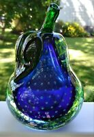 Cobalt Blue/Green Pear Art Glass Large Paperweight w/Controlled Bubbles STUNNING